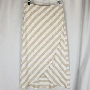 Athleta womens wrap skirt size S white brown strip